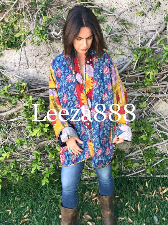 Bluebells floral plus size reversible cotton kantha coat