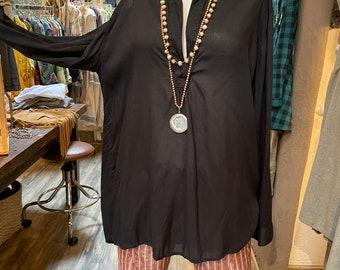 The Alexandra pullover shirt in black silky modal