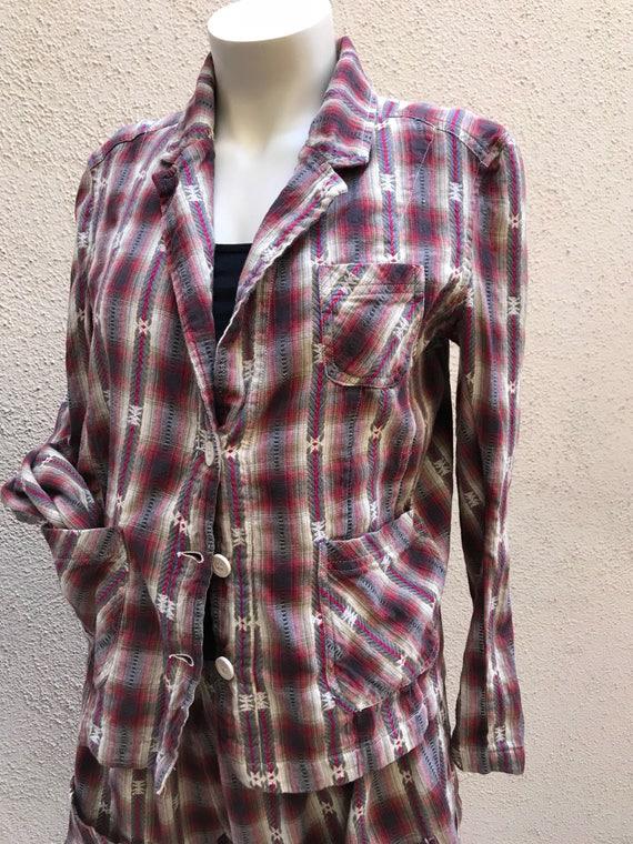 Red plaid flannel blazer