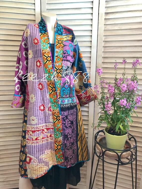 Purple artist patchwork reversible kimono