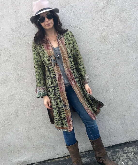 Loden green reversible silk kantha coat