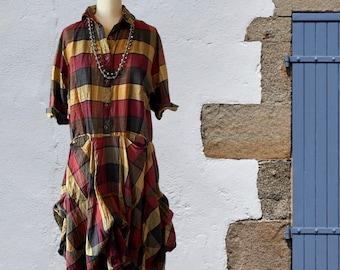 Washed silk dupioni plaid dress