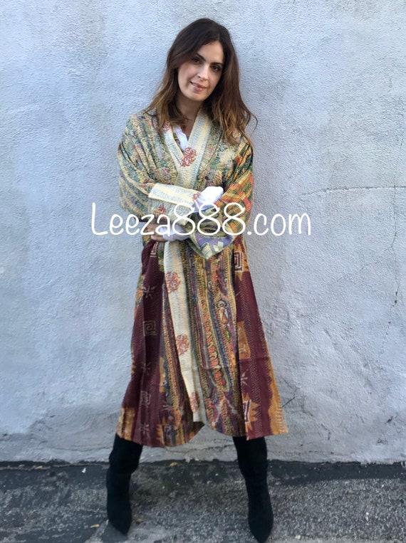 Opera length artist reversible silk kimono in plus size