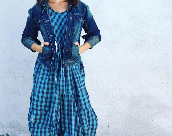 Blue and grey check cotton lagenlook dress