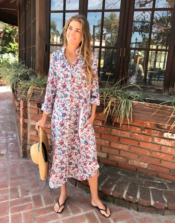 floral block print cotton voile shirtdress/duster