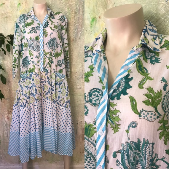 Turquoise and green Shirtwaist prairie dress mixed print hand  wood block print housedress