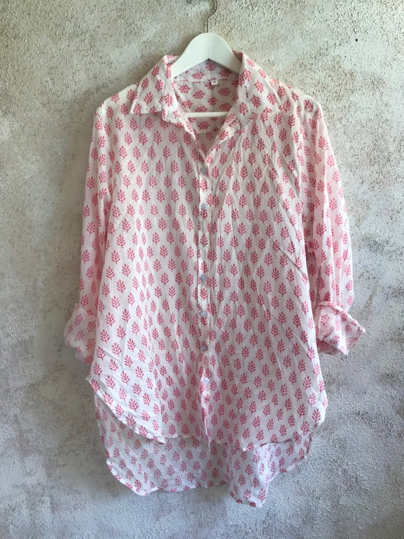 Washed hand block printed pink and white cotton voile classic button down boyfriend shirt