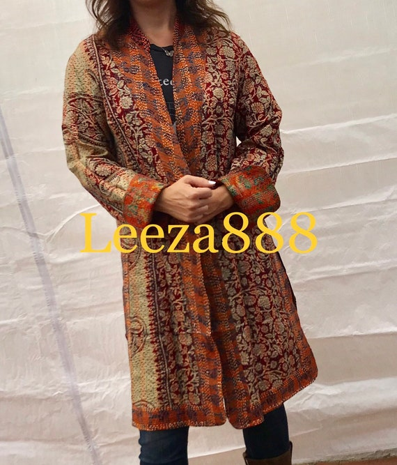 Gorgeous orange and indigo tapestry of colors combine in this fabulous artsy reversible longer silk kantha one button duster