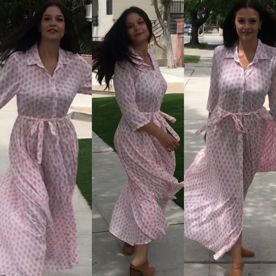 Cotton shirtdress in pink  block print with 8 gore skirt and pockets