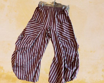 Burgundy with grey stripes fabulous cotton lagenlook pant