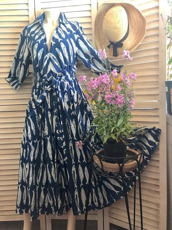 Indigo fish print cotton dress