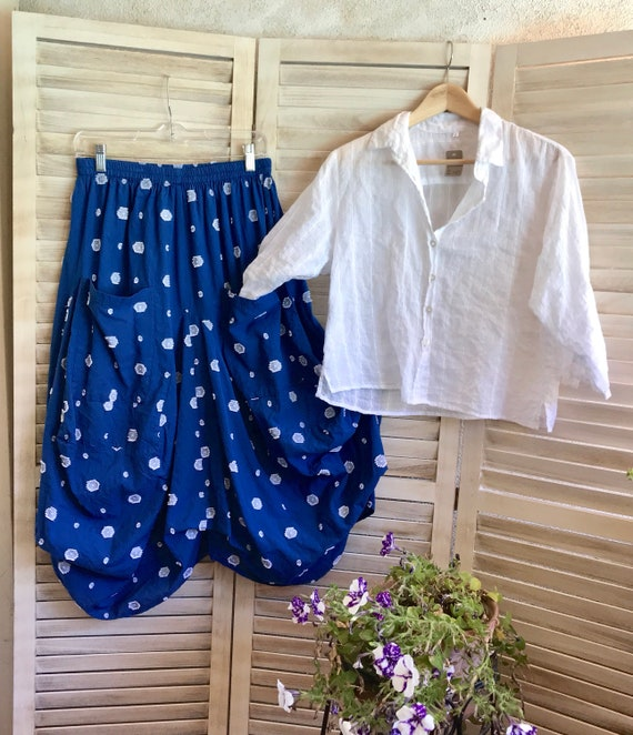 Soft blue and white cotton lagenlook skirt
