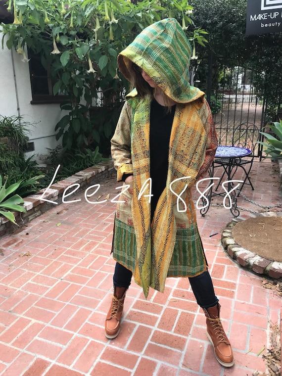 Golden nomad reversible silk kantha hoodie