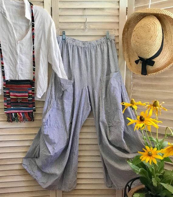 Size medium cotton ticking pinstripe lagenlook pant