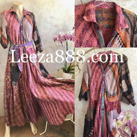 Upcycled SIlk Kantha Button down shirtdress