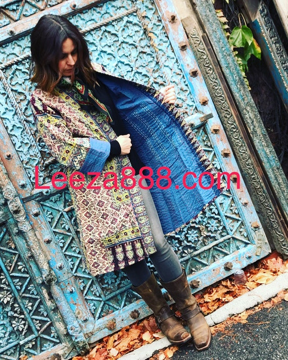 Cotton indigo print reversible coat
