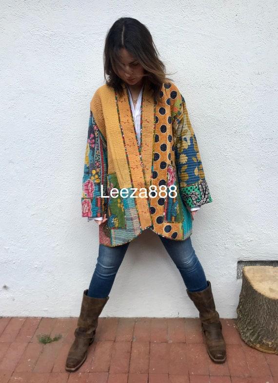 County Fair plus size reversible cotton kantha coat