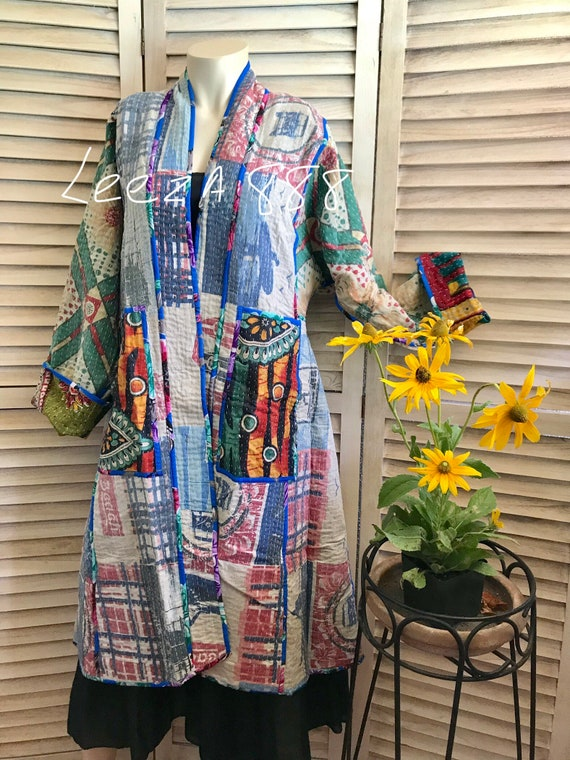 "Reversible cotton kantha ""gone surfing"" coat"