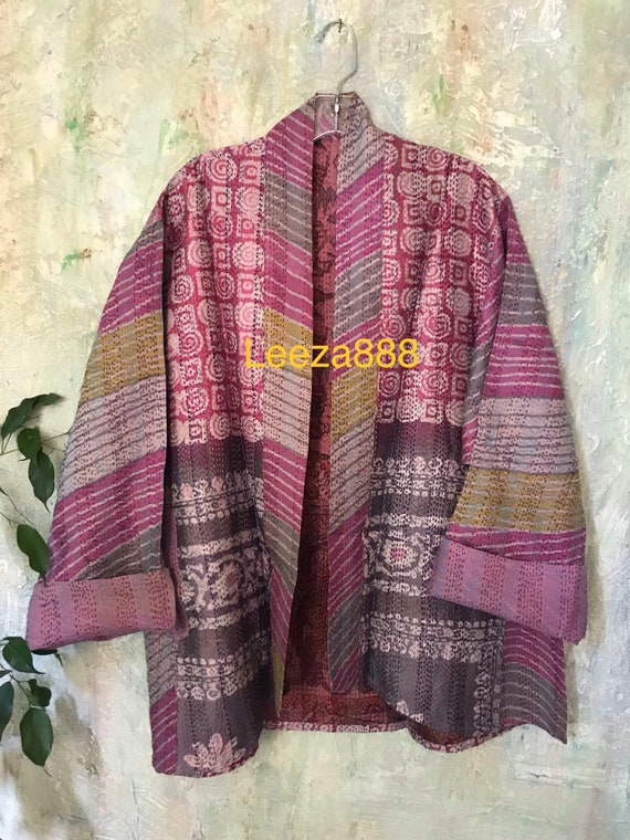 Pretty in Pink silk kantha plus size reversible kimono jacket