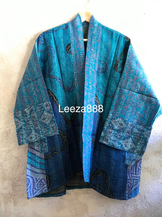 A Mermaids Life silk kantha plus size reversible kimono jacket