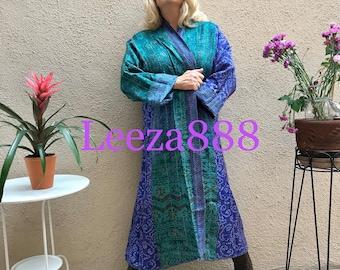 Hawaii winter plus size reversible silk kantha duster/kimono