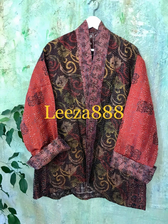 Red Square silk kantha plus size reversible kimono jacket