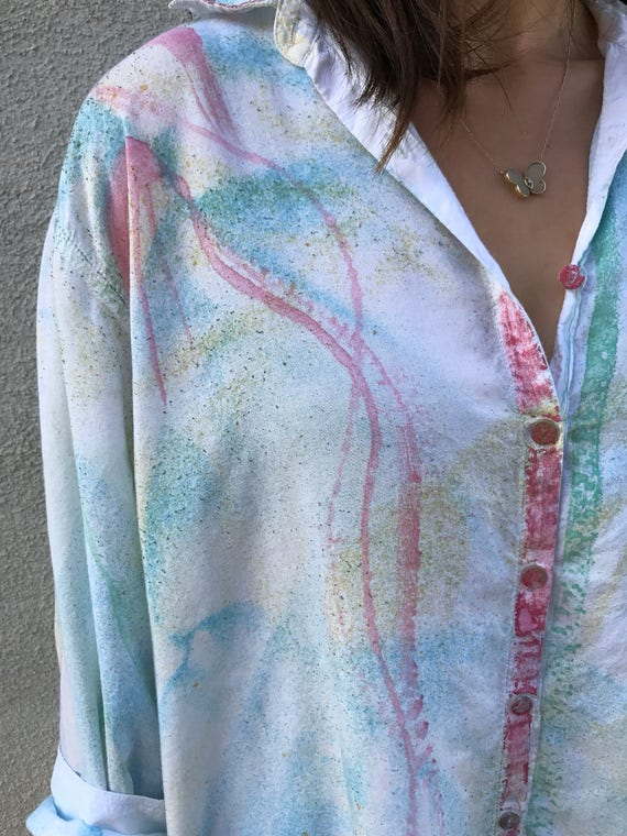 Hand painted button down shirt