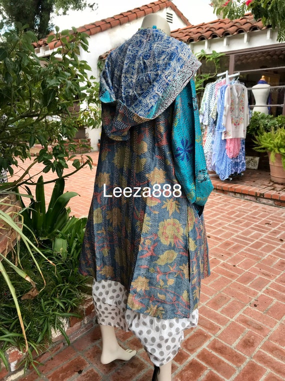 Vintage blue nomad silk reversible hoodie