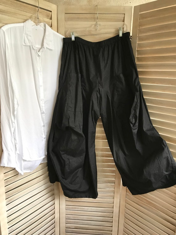 XL lagenlook pant in black cotton poplin