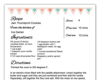 4 Editable PDF Kitchen Recipe Template Form Letter Size Sheet Instant Download includes non-editable pdf with lines for handwritten recipes