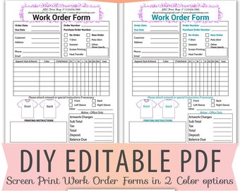 DIY Editable PDF TShirt Screen Print Work Order Form Letter Size Forms Sales Sheet Orders Receipt Instant Download Template