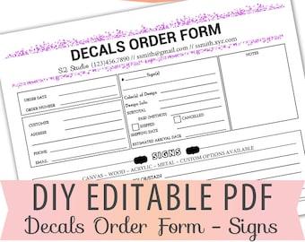 vinyl decals order form sheet letter size forms sales sheet etsy