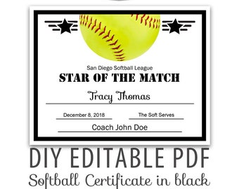Editable PDF Sports Team Softball Certificate Diy Award Template In Black Letter Size Instant Download