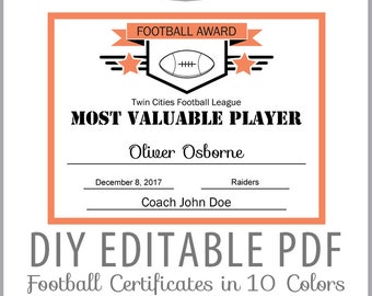 football certificate etsy
