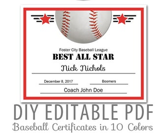 Baseball team award etsy editable pdf sports team baseball certificate award template in 10 colors letter size instant download yadclub Choice Image