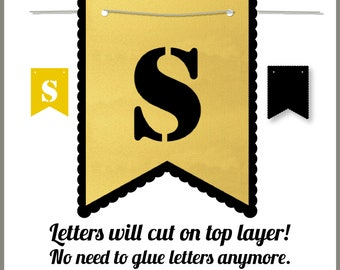 Layered A-Z Alphabet Pennant Banners Flag Letter SVG Cut Files, Cricut Design Space, Silhouette,Instant Download, Svg, Png, Eps, Dxf CF-092