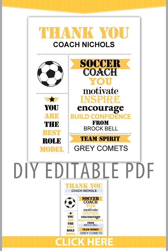 Editable PDF Sports Team Soccer Thank You Coach Certificate Subway Style Award Template In Black Yellow Gray Letter Size