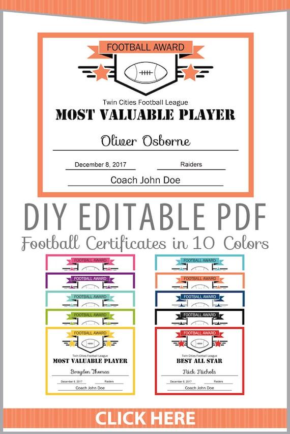 Editable Pdf Sports Team Football Certificate Award Template Etsy