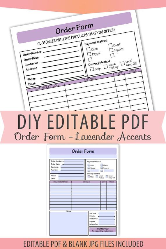 Editable Pdf General Multipurpose Order Form Letter Size Form Sales Sheet Receipt Invoice Jpg Instant Download Template Bop 035 Lavender