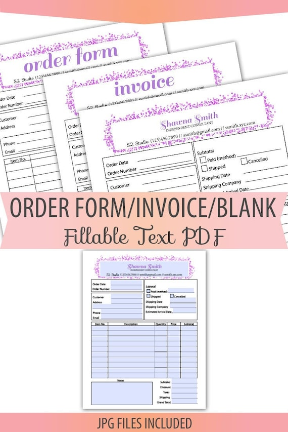 Fillable Editable Text Only Pdf Order Form Invoice Letter Size Etsy