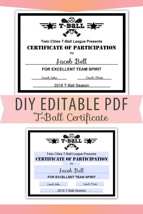 Editable PDF Sports Team T Ball Certificate Diy Award Template In Black Letter Size Instant Download