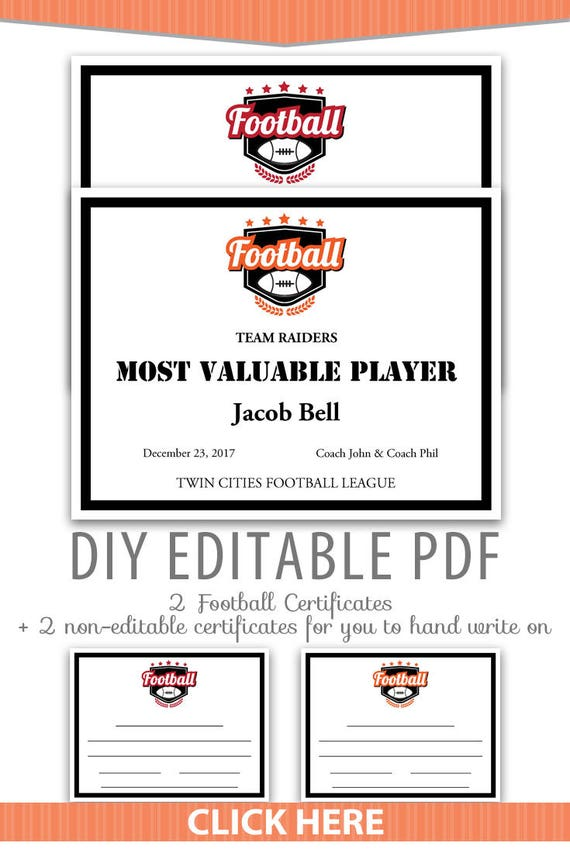 Editable Pdf Sports Team Football Certificate Award Template