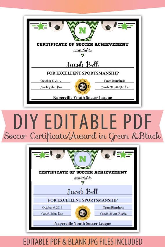 Editable PDF Soccer Certificate Sports Team Award Template In Green Black Letter Size Blank Pdf Instant Download SP 006 Soccer GB