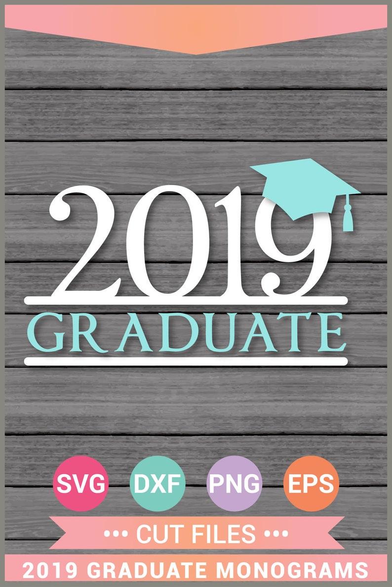 2019 Graduate Graduation Cap Split Monogram SVG Cut Files, Vinyl, Cricut  Design Space, Silhouette,Instant Download,Svg, Png, Eps, Dxf CF-055