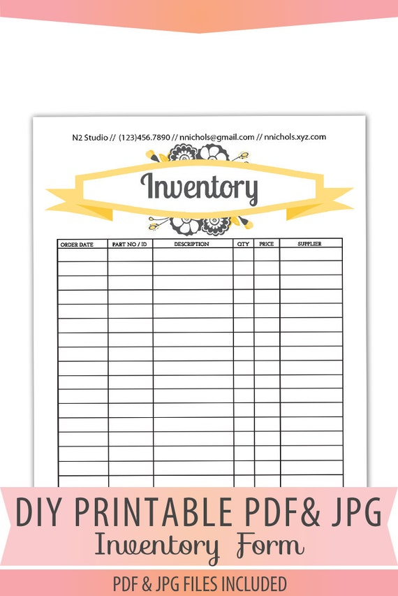 Inventory Form Printable PDF Letter Size Forms Sales Orders Sheet Instant Download Template BOP 018 Inventory