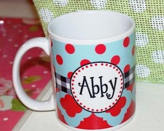Personalized coffee cup, personalized coffee mug, red & turquoise coffee mug, gingham coffee mug, monogrammed mug, monogrammed cup