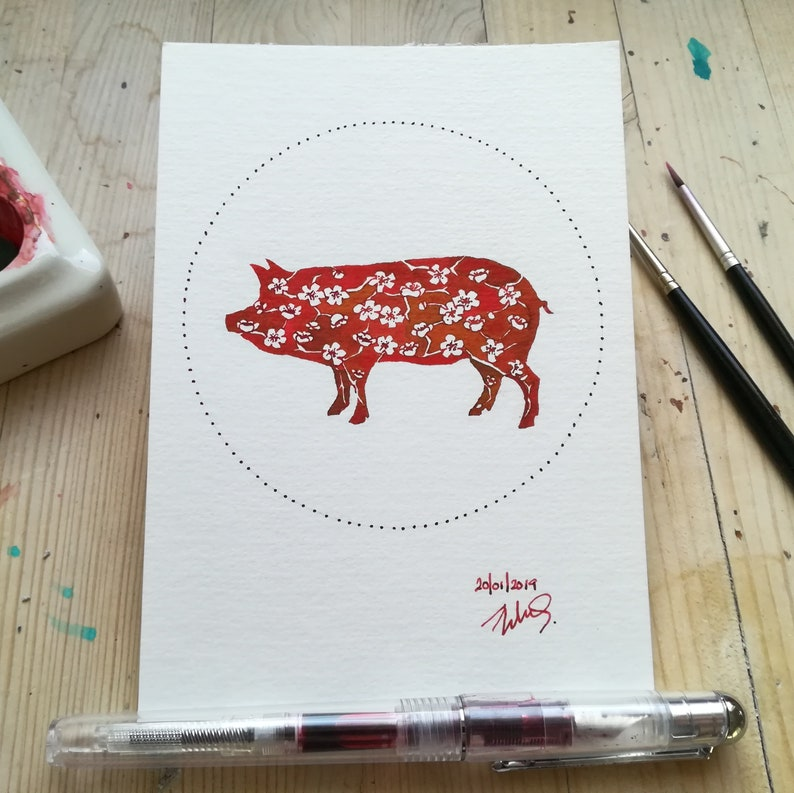 Year of the Pig  Instant Download/Printable Art image 0