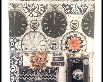 collage wall art -black and white -floral - vintage jewelry -stretched canvas8x10  - clocks - paisley - 2 canvases- small frame -polka dots