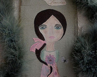 doll, handpainted on wood,flower, butterfly, titled, pink,green, pretty girl,