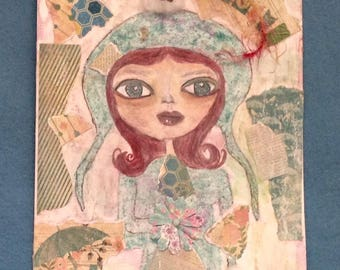 collage, collage girl, pretty girl, red hair, umbrella, banners, sparkle, flower, cotton, wall hanging, handpainted, home dec, teal,